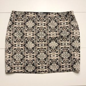 Black & Gold Art Deco Pattern Tube Skirt